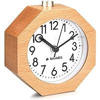 Navaris Reloj analógico de Madera con función Snooze - Despertador Retro en Forma de octágono con