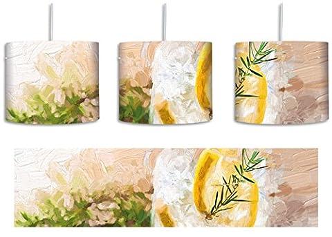 Gin Tonic lemon Drinks on ice Pinsel Effekt inkl. Lampenfassung E27, Lampe mit Motivdruck, tolle Deckenlampe, Hängelampe, Pendelleuchte - Durchmesser 30cm - Dekoration mit Licht ideal für Wohnzimmer, Kinderzimmer, (Grün Wodka)