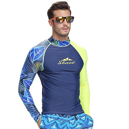 SANANG Herren Langarm Bademode Rashguard Surfen Tauchen Shirt UV Schutz Rash Guard Tops 742 (Blau, XXX-Large)