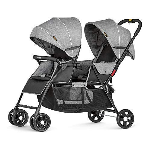 Besrey Geschwisterwagen Zwillingskinderwagen für 2 Kinder Zwillinger