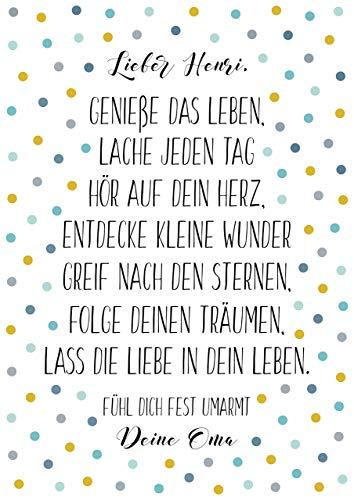 Geschenk zur Taufe, Kinderzimmer Poster mit Spruch, gelb türkis Konfetti, A4 ohne Rahmen, Namen personalisiert, Geschenkidee zur Geburt