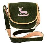 Trachtentasche Dirndltasche Umhängetasche dunkel-grün mit rosa Stickerei Hirsch Echt Leder