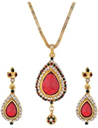 Bel-en-teno Red & Green Alloy Pendant Set For Women