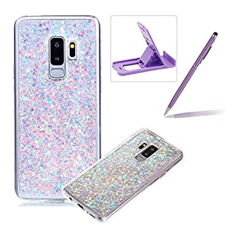 Rubber TPU Case for Samsung Galaxy S9,Herzzer Ultra Thin Slim Lightweight Color Changing Glittering Luxury Unique [Purple Sequins] Bling Bling Shiny Sparkle Soft Silicone Gel Clear Bumper Frame Cover for Samsung Galaxy S9 + 1 x Free Purple Cellphone Kickstand + 1 x Free Purple Stylus Pen