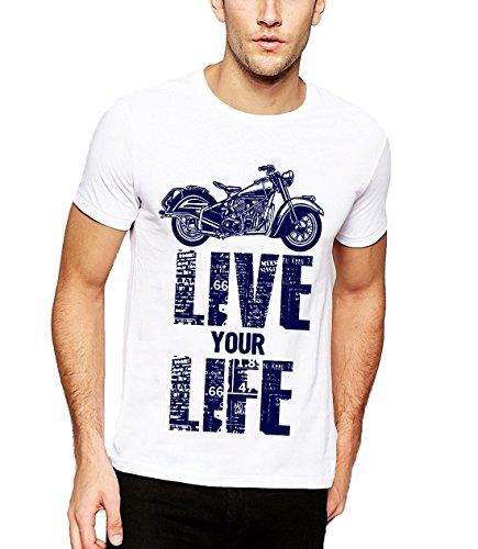 Adro Men's Live Your Life Biker Printed cotton T-shirt