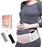 Luamex Neuheit - Schwangerschaftsgürtel verstellbar mit Taschen - Bauchgurt für Schwangere - Bauchband Schwangerschaft - Bauchstütze verringert Bauch- und Rückenschmerzen inkl. eBook