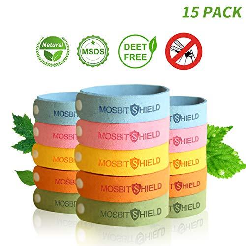 Dreamwin braccialetto antizanzare, 15pcs bracciale repellente per zanzare, attività all'aria aperta e bracciale per sport, questioni naturali, regolabile per adulti e bambini