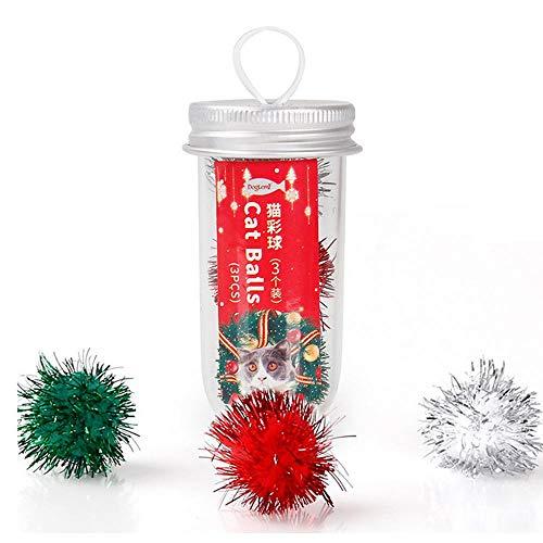 KOBWA Glitzer-Bälle, 3 Stück, Weihnachts-Lametta-Pompons, Flauschige Bälle, Spielbälle für Katzen, interaktives Spielzeug, Unterhaltungsübung, Intelligenz Spielzeug für Katzen und Hunde