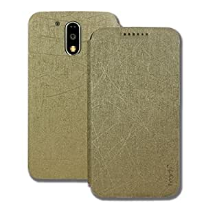 Heartly Premium Luxury PU Leather Flip Stand Back Case Cover For Motorola Moto G Plus 4th Gen / Moto G4 Plus / Moto G4 - Hot Gold
