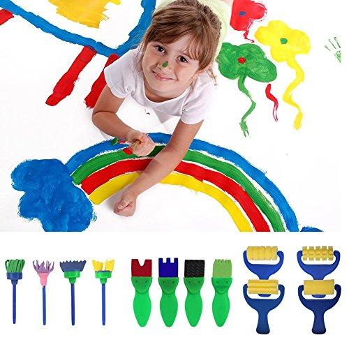 Sue Supply Kinder Malset, 17-teiliges Set Schwammpinsel, lustige Malerpinsel, Rollen, Formen, Pinsel, Stempel, Blumen, Schaumstoff, Zeichnungs-Werkzeuge für Kinder, Lernen, frühe Lernen, DIY (Diy-halloween-basteln Für Kleinkinder)