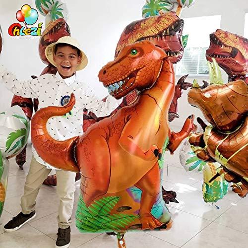 Tyro - Globos de helio para fiesta de cumpleaños, diseño de dinosaurio de Tyrannosaurus Raptors Triceratops