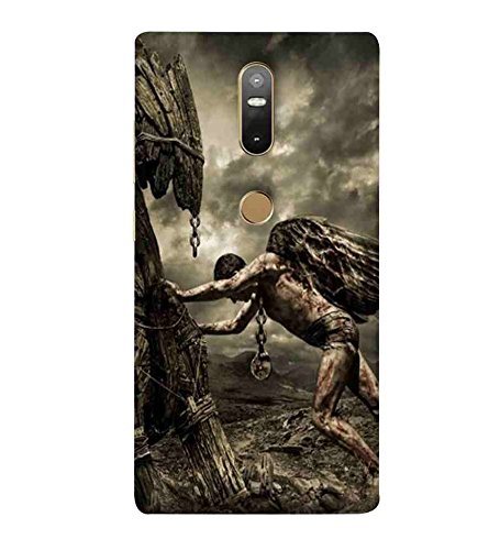 CHAPLOOS For Lenovo Phab 2 Plus man, man with feather, man puss wood, brown background Designer Printed High Quality Smooth Matte Protective Mobile Case Back Pouch Cover by APEX