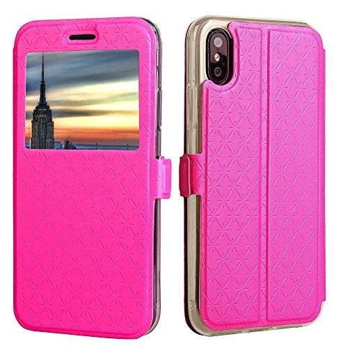Smart Window Case Gitter Textur PU Leder Flip Stand Case Cover mit Card Slot und Kickstand für iPhone 8 ( Color : White ) Rose