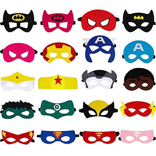 Ouinne 20 Stücke Superhelden Masken, Superhero Party Supplies Cosplay Masken Gefälligkeiten Halbmasken für Erwachsene und ()