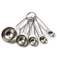 5pcs Kitchen Metal Measuring Spoon Cup Tea Coffee Sugar Cooking Baking Scoop