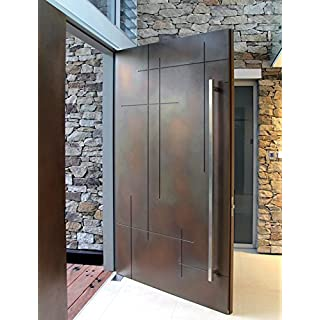 107 Square-shaped Modern Stainless Steel Sus304 Entrance Entry Commercial Office Store Front Timber Wood Glass Door Pull Push Handles Double-sided (36 Inches /900x30x30mm, Brushed 304 Grade)