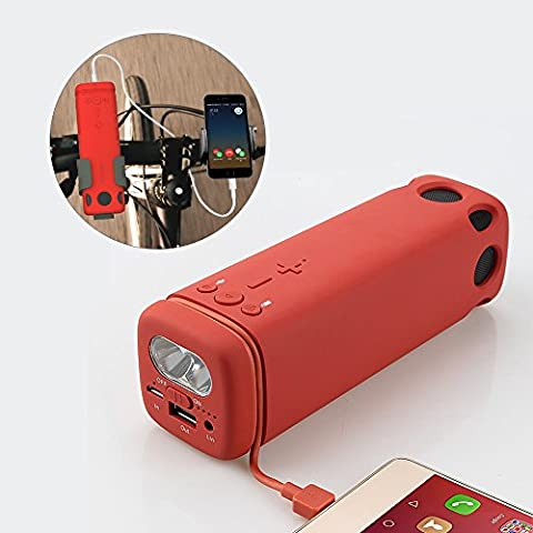 Portable Bluetooth Speaker with Bicycle Mount, 3 in 1 Multi-Functional Outdoor Bicycle speakers, LED Flashlight, Build-in Rechargeable 8000 mAh Power Bank and Charging Cable, 24 Hours Playtime, Enhance Bass, loudspeakers for iPhone, Samsung, Tablet, PC, iPad and etc.