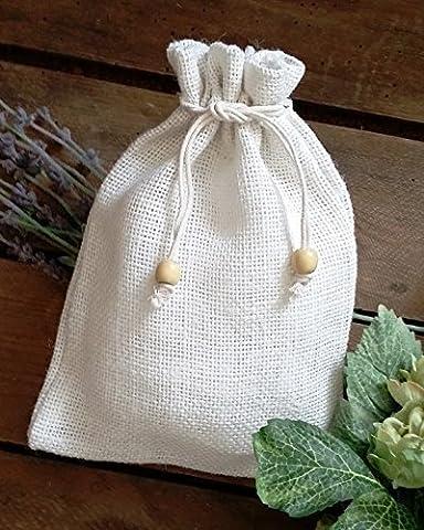 Small Plain Drawstring Jute Hessian Bag (20cm x 27cm) in White Hessian. PACK OF 25. Bag Code #28