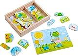 HABA 303186 - Holzpuzzle Lustiger Tiermix | Puzzle aus 30 Teilen mit Tiermotiven in vielen Variationsmöglichkeiten | Holzspielzeug ab 18 Monaten