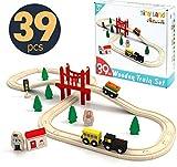 Tiny Land Züge und Holzeisenbahn Pack (39 pcs) Eisenbahn Einsteigerset Passend für Brio Thomas...