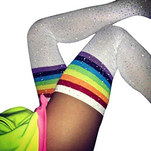 FORH Damen Lange Overknee Strümpfe Fashion Klassisch Streifen Socken Warme Baumwolle Elastisch Stricken Kniestrümpfe Strick Lange Sportsocken College Knie Socken Mädchen (F) (Blumen-knie-socken)