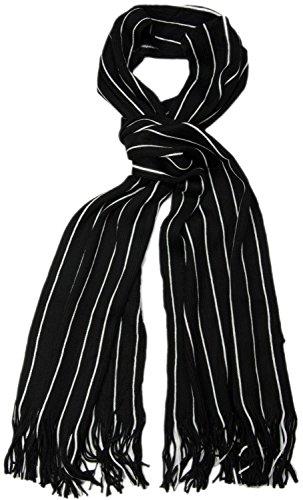 styleBREAKER Feinstrick Herrenschal im Streifen Look / Strickschal mit Fransen 01018117- Gr.One Size, Schwarz-Weiß (V12)