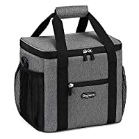 Bagmine Soft-Sided Collapsible Thermal Cooler Bag, 30 Cans 15 Liter Insulated Cooler Bag Shoulder Strap, Gray