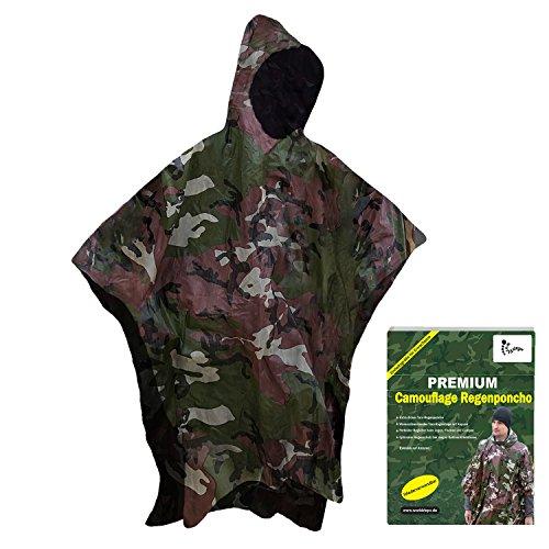 Tarnregenponcho mit Kapuze für Erwachsene (1,60 bis 1,95m)-Reißfestes dickes Regencape, stabiler Regenumhang zum Jagen, Angeln, Camping-Outdoor Regenjacke, Fahrradponcho (Camouflage)