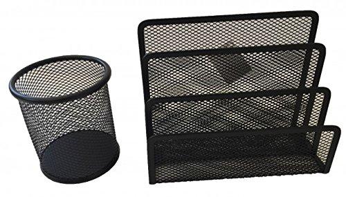 Stifteköcher / Becher und Briefhalter ( 3 Ablagefächer ) aus Metalldraht schwarz Büro Schreibtisch