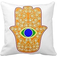 Arco iris Hamsa de la mano de Miriam mano de Fátima png manta funda de almohada