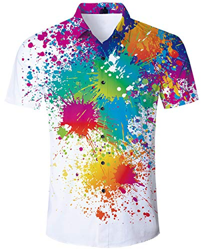 6146b1e3ab ALISISTER Mens Hawaiian Shirt Colorful Graffiti Paint Printed Short Sleeve  Tshirts Tropical Hawaii Shirt Casual Retro