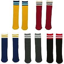 Fygood – Lote de 5 pares calcetines altos hasta la rodilla, niños, ...