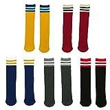 fygood–Lote de 5pares calcetines altas rodilla niños Unisex Rayas rayas Talla:M(4-10ans 40cm)