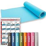 POWRX Deluxe Yogamatte - rutschfest - TPE umweltfreundlich | Gymnastikmatte TPE 173 x 61 x 0,5 cm | Trainingsmatte verschiedene Farben | Pilates-/Übungsmatte | Hautfreundlich (Petrol)