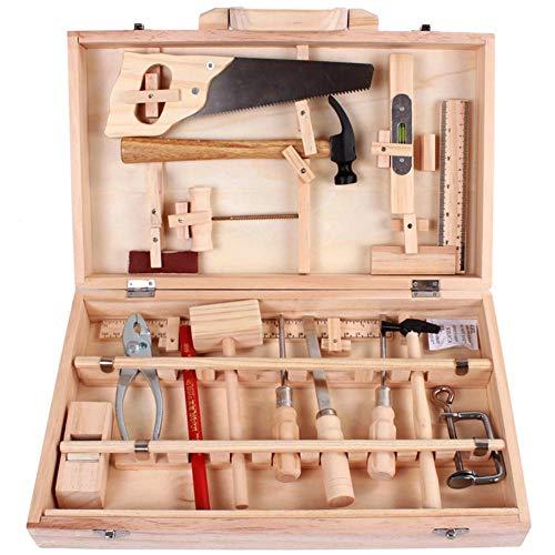 Werkzeug Spielzeug, Spielwerkzeugen Rollenspiele Geschenk, Werkzeugkasten, Holz Werkzeugkoffer, Werkzeug Aus Holz, Werkbank Mit Umfangreichem Werkzeug Set, Funplay-Sets Für Jungen Mädchen Kinder