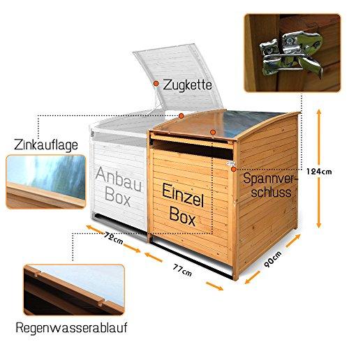 Mülltonnenbox Holz 240 L Gartenbox Mülltonnenverkleidung Mülltonne (Einzelbox 240L) - 2