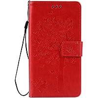 Nancen - Cover di protezione per Motorola Moto G4/G4Plus (5.5pollici), in  similpelle, a portafoglio, con spazi per tessere Dieci colori in tinta unita disponibili [con incisione gatto e albero]