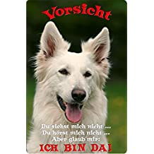 +++ Weißer SCHWEIZER SCHÄFERHUND - Metall WARNSCHILD Schild Hundeschild Sign - WSS 11 T2