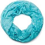 styleBREAKER Sterne Muster Loop Schlauchschal, seidig leicht, Damen 01016088, Farbe:Türkisblau-Weiß (One Size)