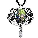 Einhorn mit Elfe Anhänger Amulett Cabochon mit Halsband Schmucksäckchen und Karte 06