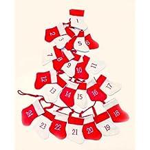 HAAC Calendario de Adviento en forma de guirnalda Rojo y Blanco con 24 calcetines Fieltro Para
