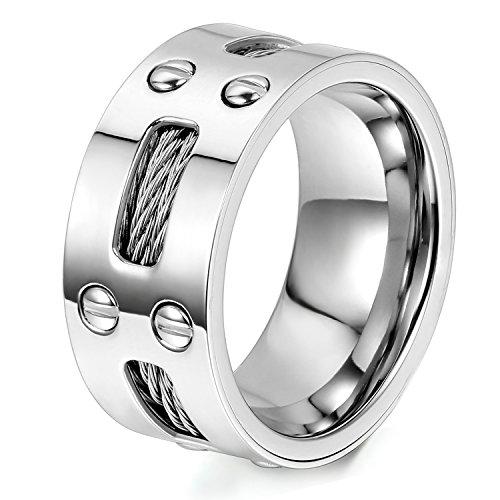 Oidea Herren Edelstahl Ring, Silber Ehering Trauring Verlobungsring Band mit Stahl-Kabel und Schrauben, Innendurchmesser:62 (19.7)