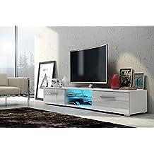 Soporte de TV EDITH con iluminación LED (Blanco mate / blanco brillante)