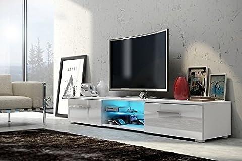 Meuble TV EDITH/ Cabinet pour la TV/ éclairage LED (blanc mat/ fronts blanc brillant)
