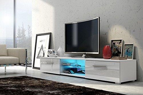 Edith - meuble TV (140cm, Blanc Mat / Blanc Brillant avec l'éclairage LED bleue)