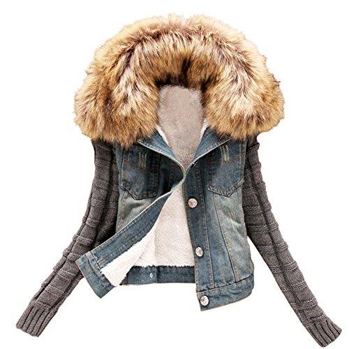 Minetom Damen Herbst Winter Stilvoll Großer Plüsch Kragen Denim Jacken Beiläufig Stricken Langarm Jeansjacke Warm Mantel Outwear Blau DE 38 (Blazer Kerbe-kragen)