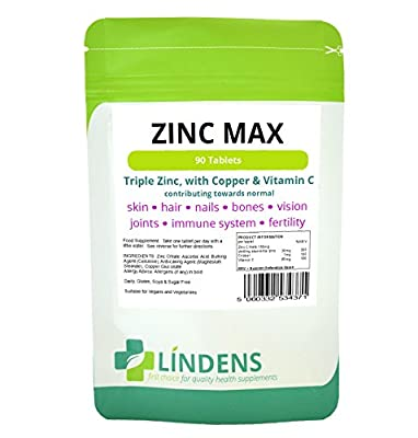 Zinc Max (Triple Strength Zinc, Copper & Vitamin C) 90 Tablets from Lindens