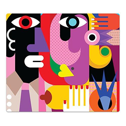 DekoGlas Herdabdeckplatte inkl. Noppen 'Kubistisches Porträt', gehärtetes Glas, Herd Ceranfeld Abdeckung, einteilig universal 52x60 cm -