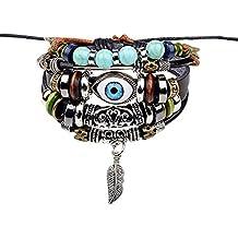 Pulsera Scrox de cuero trenzada con amuleto turco para proteger del mal de ojo, ajustable,Con un bolso de joyería