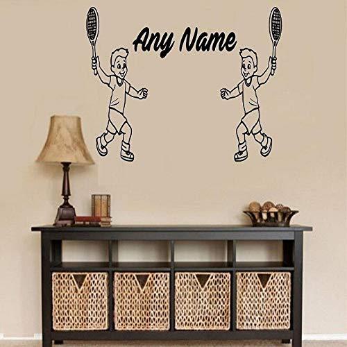 zhuziji Maßgeschneiderte Moderne Vinyl Aufkleber Tennis Player Jungen Personalisierte Name Sport Kinder Schlafzimmer Wandaufkleber Home Decor84x96 cm